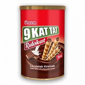 Ülker 9 Kat Tat Rulokat with Chocolate Cream will be the sweetest snack of tea and coffee breaks with its intense chocolate cream and thin leaf roll wafer.