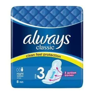 Always Classic Size 3 Night Wings 8 Pads