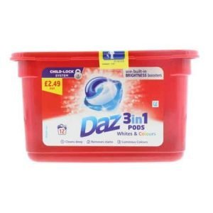 Daz 3in1 Pods Whites & Colours 12 Washes